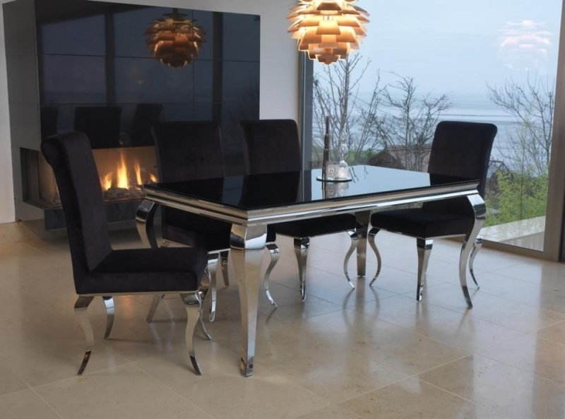 Buy Vida Living Louis Black Glass Top Rectangular Fixed Top Dining In Black Glass Dining Tables And 6 Chairs (Image 11 of 25)
