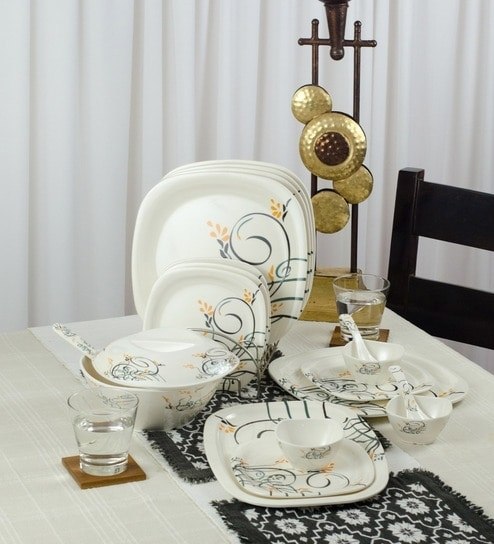 Buy White Melamine 40 Piece Dinner Set With Intricate Design Inside White Melamine Dining Tables (Image 6 of 25)