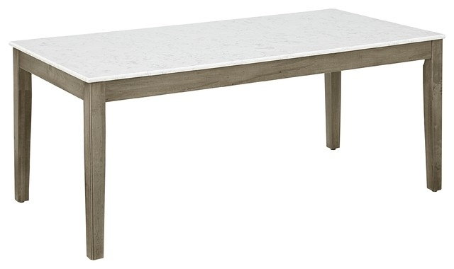 Caden Kitchen Leg Table Base With Quartz Top – Transitional – Dining In Caden Round Dining Tables (Image 15 of 25)