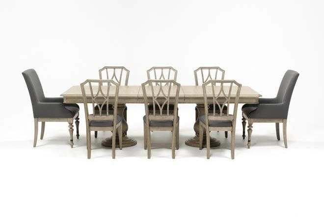Caira 9 Piece Extension Dining Set W/diamond Back Chairs | Living Spaces In Palazzo 7 Piece Dining Sets With Mindy Slipcovered Side Chairs (Image 6 of 25)