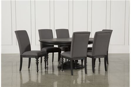 Caira Black 7 Piece Dining Set W/upholstered Side Chairs – Main With Caira 9 Piece Extension Dining Sets (View 3 of 25)
