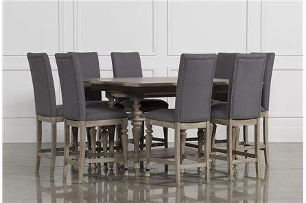 Caira Upholstered Counterstool, Grey | Room Set, Dining Room Sets For Chapleau Ii 9 Piece Extension Dining Table Sets (Image 7 of 25)