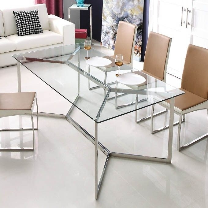 Calabria Stainless Steel And Glass Dining Table | Furniture In Glass Dining Tables (Image 2 of 25)