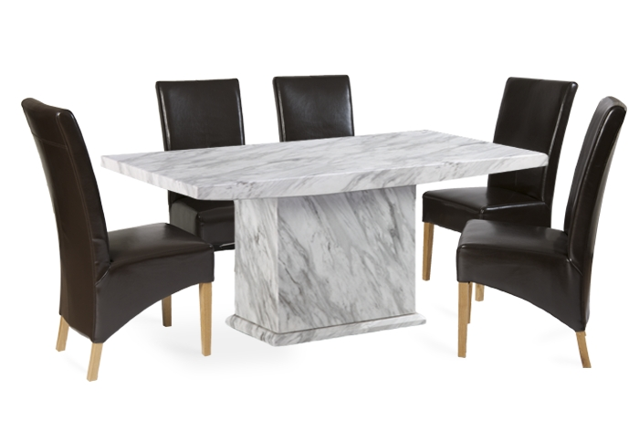Calacatta 160Cm Marble Effect Dining Table With 4 Cannes Brown Inside Marble Effect Dining Tables And Chairs (Image 2 of 25)