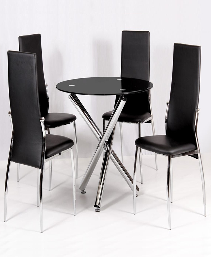 Calder Glass Dining Table | Dining Table Chrome | Tender Sleep Uk Regarding Round Black Glass Dining Tables And 4 Chairs (Image 7 of 25)