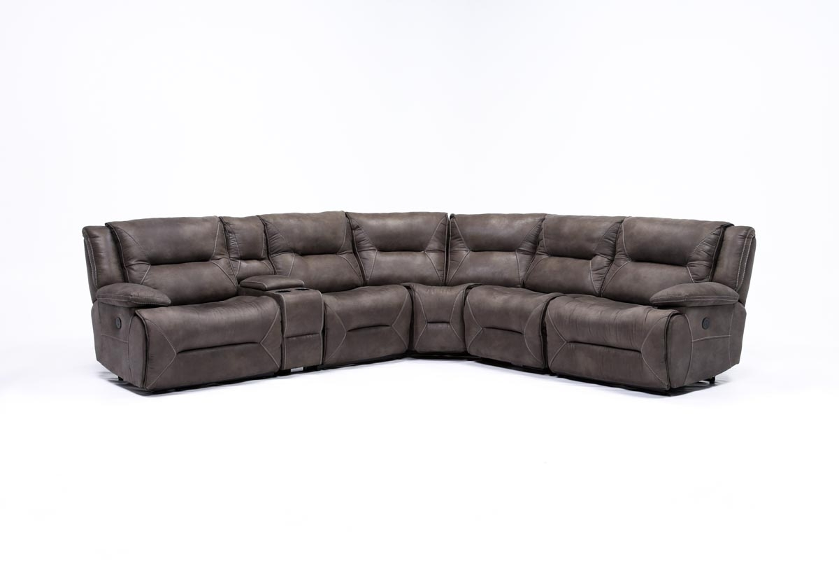 Calder Grey 6 Piece Manual Reclining Sectional | Living Spaces Throughout Calder Grey 6 Piece Manual Reclining Sectionals (Image 6 of 25)