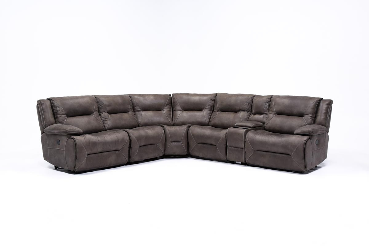 Featured Photo of Calder Grey 6 Piece Manual Reclining Sectionals