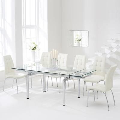 Calgary Glass Extending Dining Table With 8 Cream Chairs For Extending Glass Dining Tables And 8 Chairs (View 5 of 25)