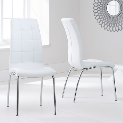 Calgary White Dining Chairs (Pair) – Robson Furniture Within White Dining Chairs (Photo 9 of 25)