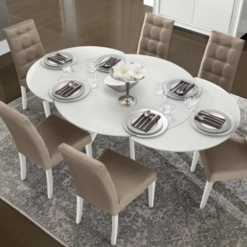 Caligula White High Gloss & Glass Round Extending Dining Table  (Image 3 of 25)