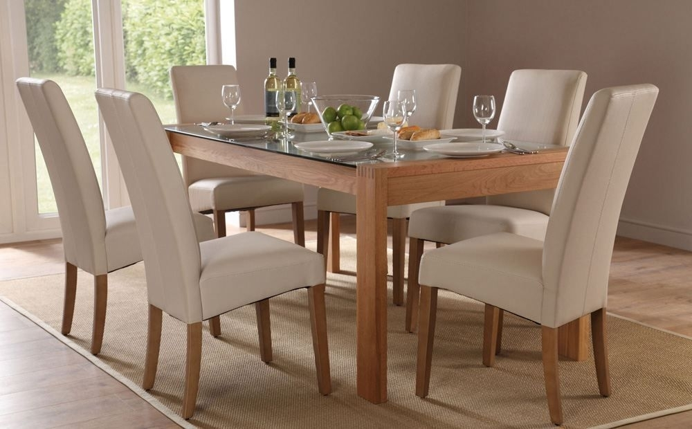 Callisto 150 Oak And Glass Dining Table And 4 Chairs Set (Grange In Glass And Oak Dining Tables And Chairs (Image 6 of 25)