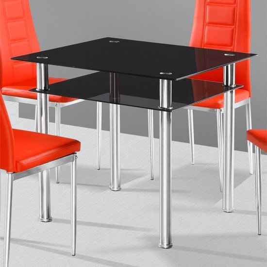 Callisto Black Glass Dining Table Only 18209 Furniture In With Regard To Square Black Glass Dining Tables (Image 6 of 25)
