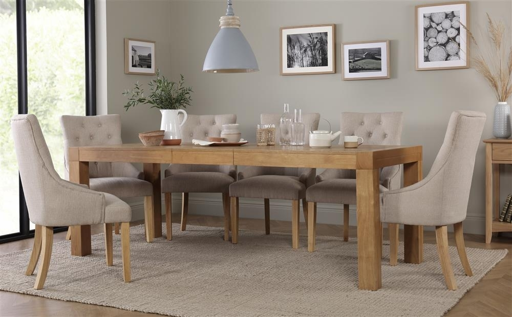 Cambridge Oak Extending Dining Table With 4 Duke Oatmeal Chairs Only with Cambridge Dining Tables