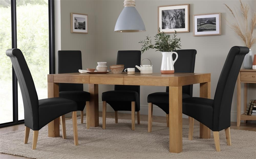 Cambridge Oak Extending Dining Table With 4 Richmond Black Chairs Inside Cambridge Dining Tables (View 9 of 25)