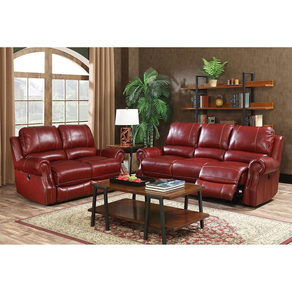 Cambridge Rustic 2 Piece Wine Sofa And Loveseat Living Room Set Throughout Waylon 3 Piece Power Reclining Sectionals (Image 6 of 25)