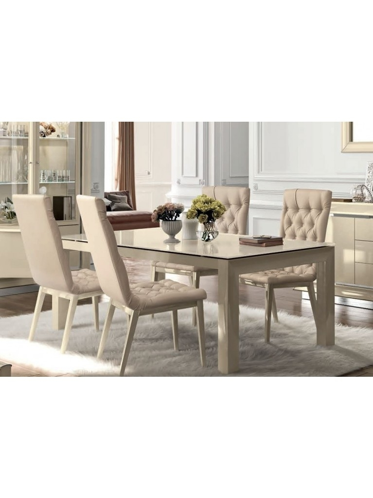 Camel La Star Day Ivory Italian Extending Dining Set With 4 Chair Pertaining To Extending Dining Tables With 6 Chairs (View 10 of 25)