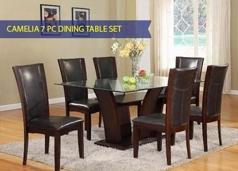 Camelia 1210 Glass Top Table And 6 Chairs With Regard To Leon Dining Tables (View 3 of 25)