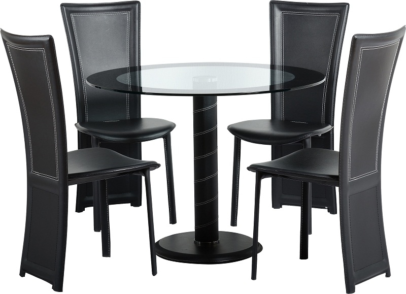 Cameo Dining Set | City Furniture Shop Intended For Round Black Glass Dining Tables And 4 Chairs (View 4 of 25)