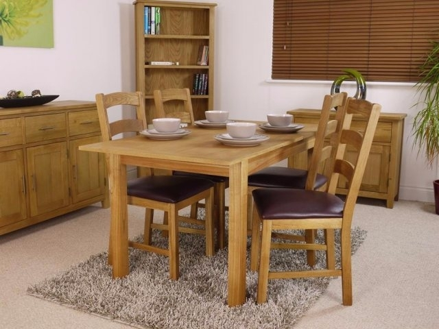 Canada Oak Extending Dining Table Set - Table And 4 Chairs inside Oak Extending Dining Tables and Chairs