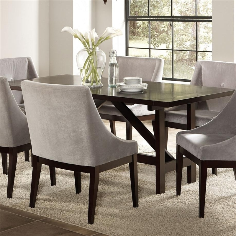 Candice 7 Pc Dining Table Set In Cappuccino Finishcoaster – 102230 Regarding Candice Ii 5 Piece Round Dining Sets (View 9 of 25)