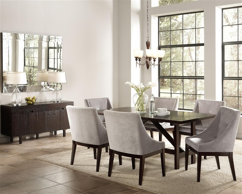 Candice 7 Pc Dining Table Set In Cappuccino Finishcoaster – 102230 With Regard To Candice Ii 5 Piece Round Dining Sets (Image 8 of 25)