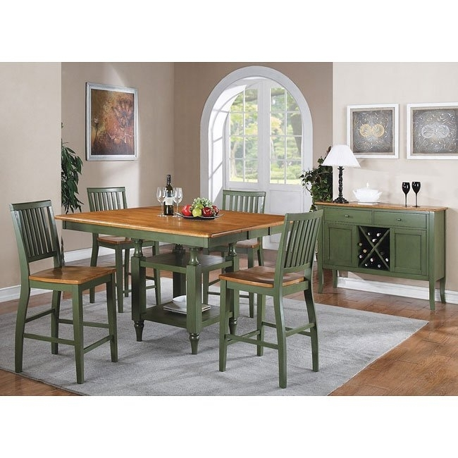 Candice Counter Height Dining Set (Oak / Green) Steve Silver With Candice Ii 6 Piece Extension Rectangle Dining Sets (Image 3 of 25)