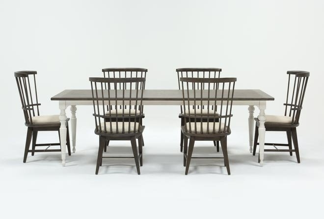Featured Image of Candice Ii 7 Piece Extension Rectangular Dining Sets With Slat Back Side Chairs