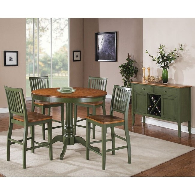 Candice Round Counter Height Dining Set (Oak / Green) Steve Silver In Candice Ii 6 Piece Extension Rectangle Dining Sets (Image 5 of 25)