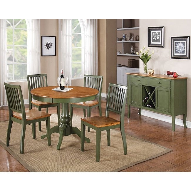 Candice Round Dining Room Set (Oak / Green) Steve Silver Furniture With Regard To Candice Ii Round Dining Tables (Image 11 of 25)