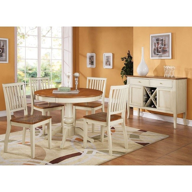 Candice Round Dining Room Set (Oak / White) Steve Silver Furniture Intended For Candice Ii Round Dining Tables (Image 12 of 25)