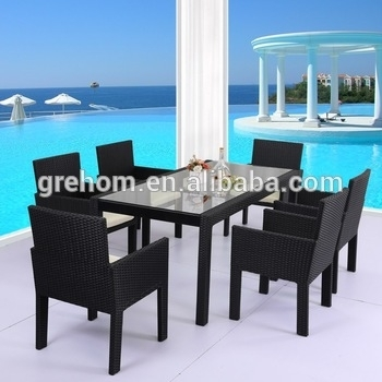 Cane Furniture Plastic Rattan Tempered Glass Top Dining Table – Buy For Wicker And Glass Dining Tables (Image 3 of 25)