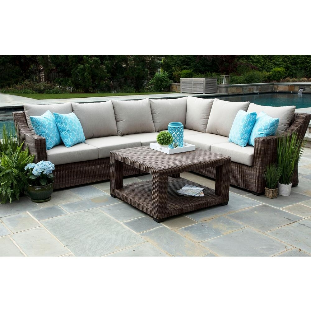 Canopy Alder 5 Piece Resin Wicker Outdoor Sectional With Sunbrella Intended For Alder 4 Piece Sectionals (Image 8 of 25)