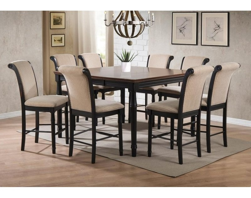 Canora Grey Vianden 9 Piece Counter Height Solid Wood Dining Set Throughout Norwood 7 Piece Rectangular Extension Dining Sets With Bench & Uph Side Chairs (Image 6 of 25)