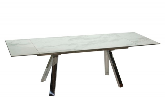 Cantania – White Extending Marble Top Dining Table – Fishpools Inside Extending Dining Tables (Image 4 of 25)