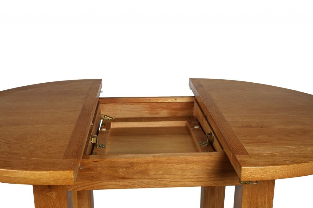 Canterbury Oak Round Extending Dining Table W110 150 X D110 X H78Cm (Image 3 of 25)