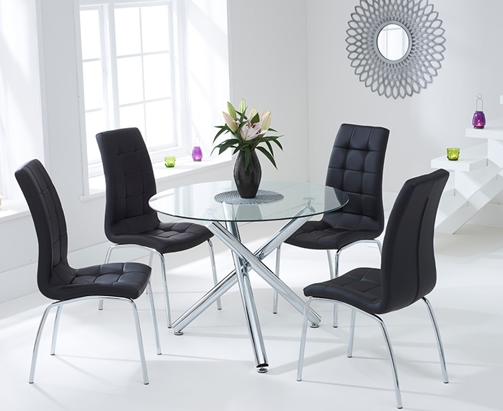 Canvey Glass 100Cm Round Dining Set With 2 Forli Black Chairs Inside Round Black Glass Dining Tables And 4 Chairs (Image 9 of 25)