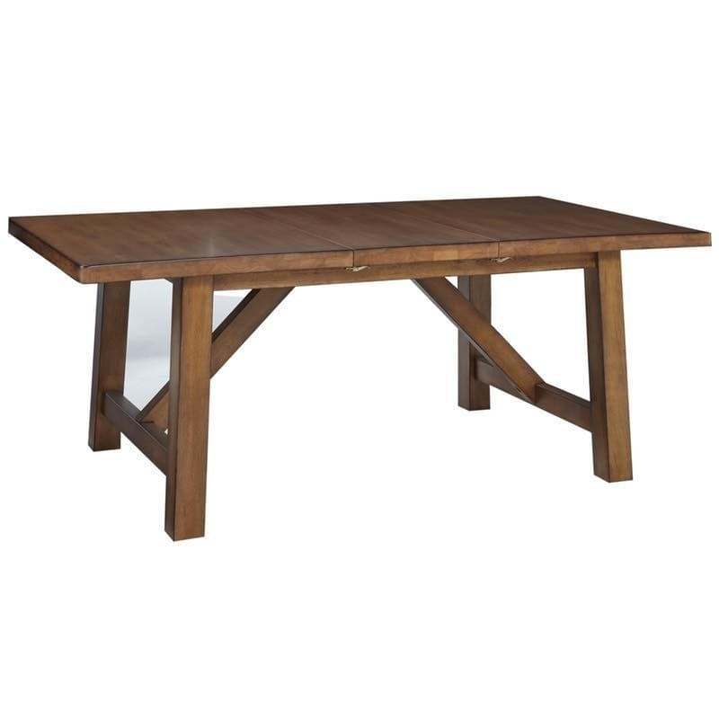 Canyon Pecan Dining Extension Table Free Shipping For Craftsman Rectangle Extension Dining Tables (Image 11 of 25)