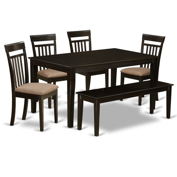 Cap6S Cap 6 Pc Dining Set  Table And 4 Kitchen Chairs Plus A Bench For Caden 6 Piece Rectangle Dining Sets (Image 6 of 25)