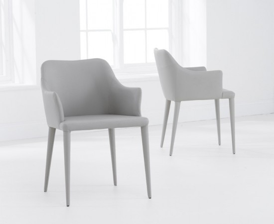 Cape Verdi Light Grey Leather Dining Chair | Morale Home Furnishings Throughout Grey Leather Dining Chairs (Image 2 of 25)