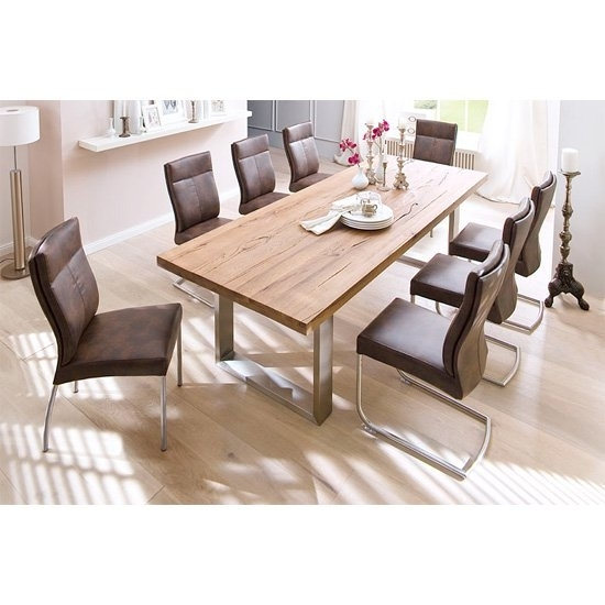Capello Solid Oak 8 Seater Dining Table With Charles Chairs With 8 Dining Tables (Image 9 of 25)