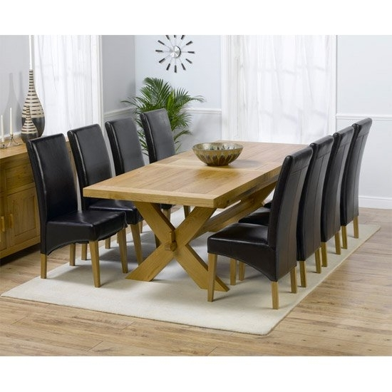 Carlotta Extending Solid Oak Dining Table And 8 Leather Within Extendable Dining Tables With 8 Seats (Image 10 of 25)