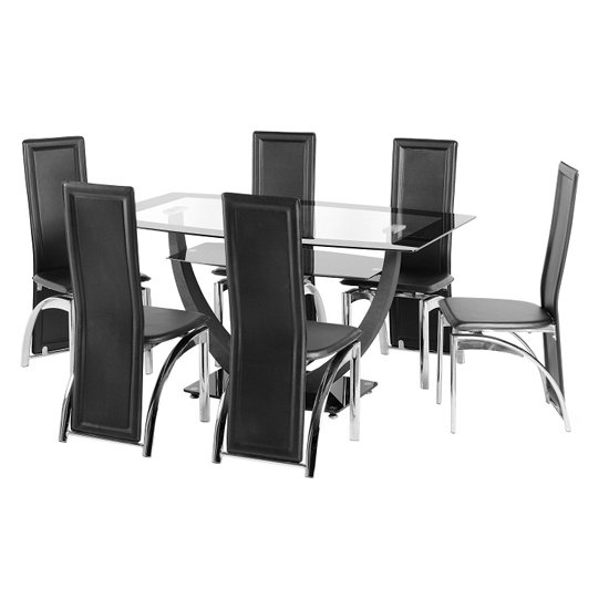 Carlson Glass Dining Table And 6 Chairs 18502 Furniture In Within Glass 6 Seater Dining Tables (Image 10 of 25)