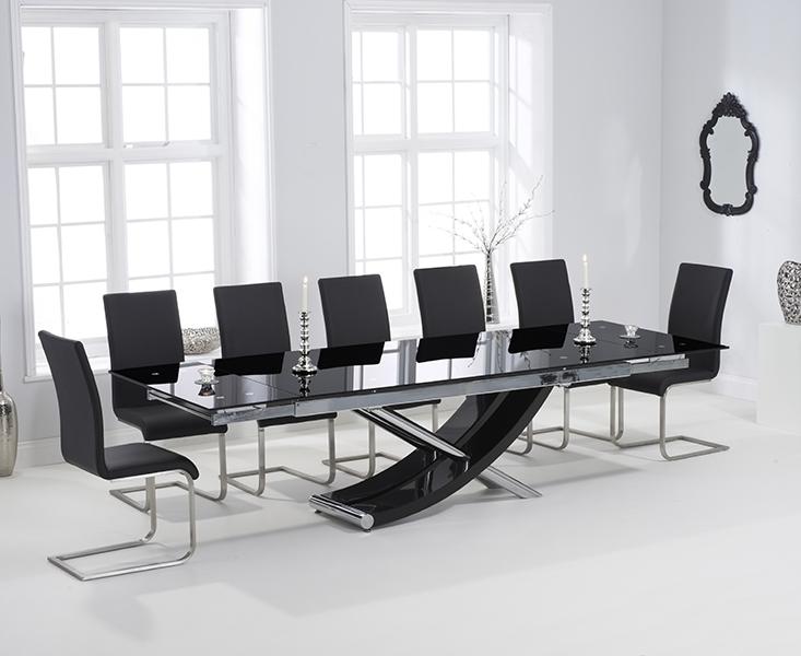 Carlton Black Glass 210Cm Extending Dining Set With 8 Boston Black Throughout Extending Black Dining Tables (Image 6 of 25)
