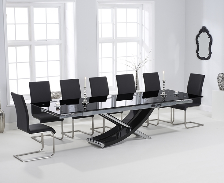 Carlton Black Glass 210Cm Extending Dining Set With 8 Boston Black With Regard To Extending Glass Dining Tables And 8 Chairs (Image 7 of 25)