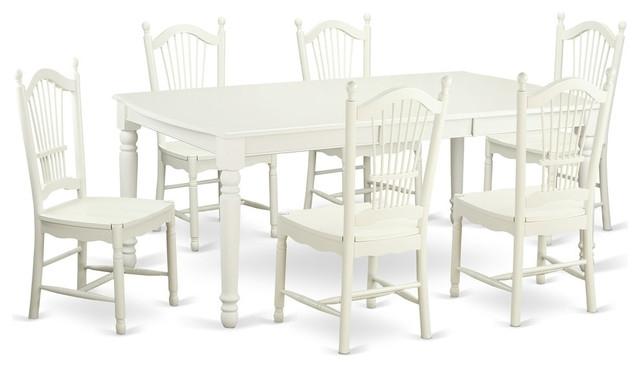 Carly Rectangular Dining Table Set, White – Traditional – Dining For Carly Rectangle Dining Tables (Image 10 of 25)
