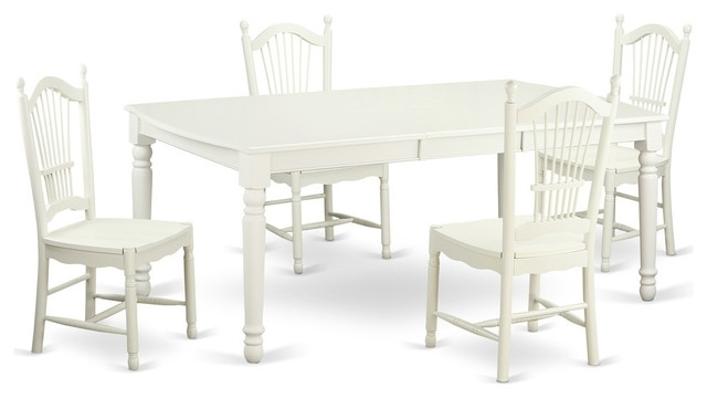 Carly Rectangular Dining Table Set, White – Traditional – Dining Throughout Carly Rectangle Dining Tables (View 2 of 25)