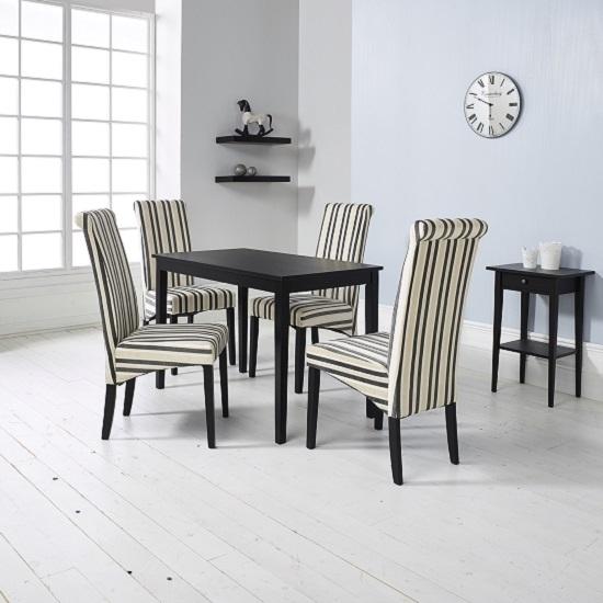 Carmel Wooden Dining Table In Matt Black And 4 Cream Chairs In Cream And Wood Dining Tables (View 18 of 25)