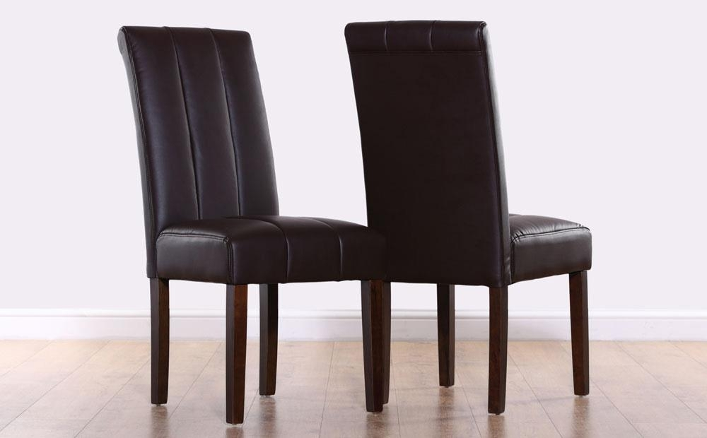 Carrick Dark Brown Leather Dining Chair (Wenge Leg) Only £ (Image 9 of 25)