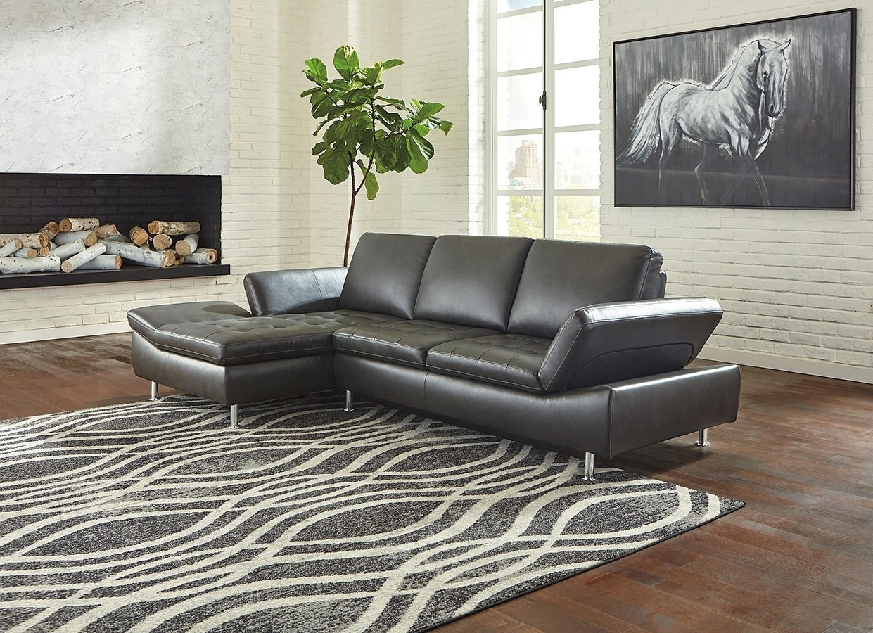 Carrnew Gray Left Chaise Sectional – Living Room Furniture – Living Intended For Nico Grey Sectionals With Left Facing Storage Chaise (Image 5 of 25)