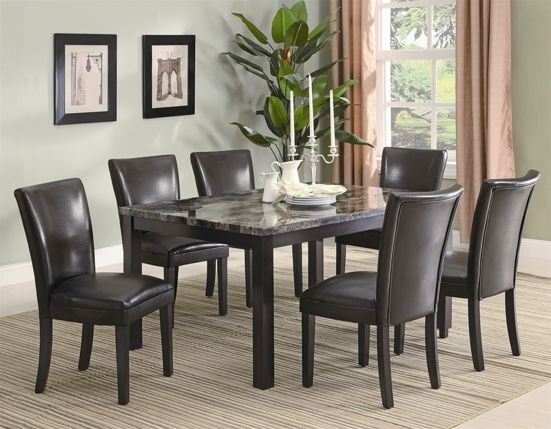 Carter 7 Piece Faux Marble Dining Set In Deep Cappuccino Finish With Marble Dining Chairs (View 25 of 25)